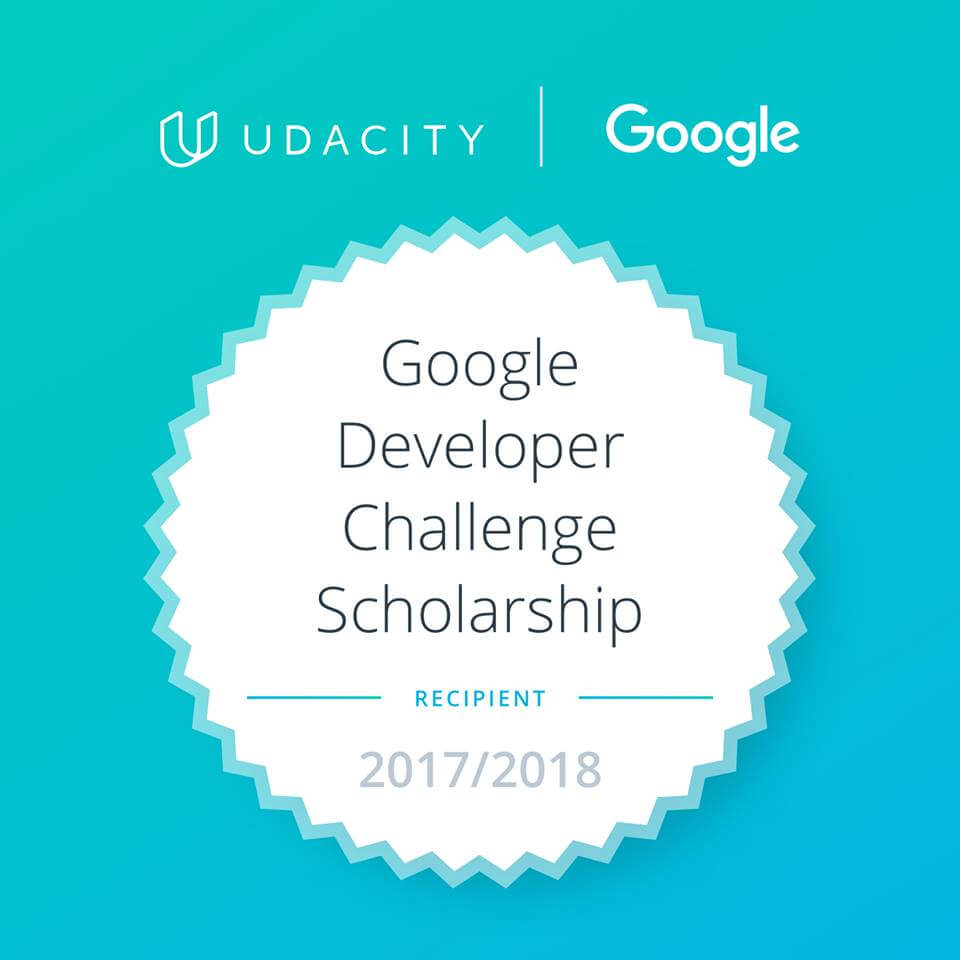 I got a Google Udacity Scholarship!