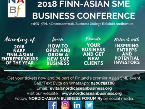 If you are interested in Finnish-Asian SMEs and startups, this event is for you!