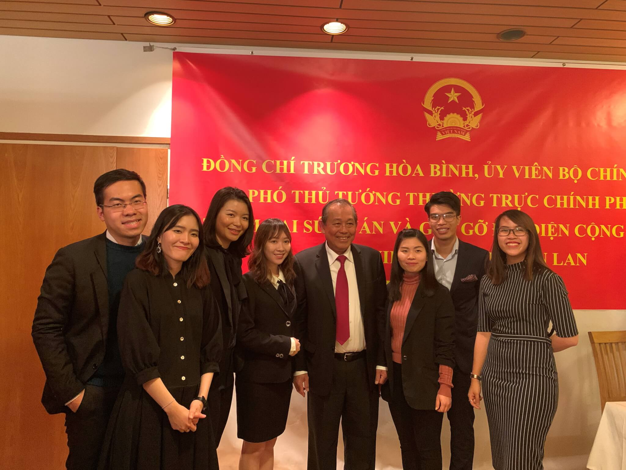 VietES team had the honour to represent the young and ambitious generation to deliver a speech to the Deputy Prime Minister Truong Hoa Binh at Vietnam Embassy in Finland